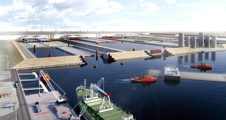 Visualisering arbejdshavnen og tunnelfabrikken.   Visualisation of the work harbour and tunnel factory.   Visualisierung des Arbeitshafens und der Tunnelelementfabrik in Rødbyhavn.